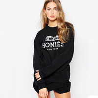 2016 Fashion Clothing HOMIES Printed Sweatshirts Women Sport Suit Womens Pullovers Hoodies Casual TrackSuits Sudaderas