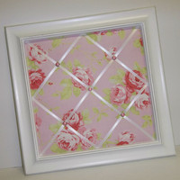 Pink Lulu Rose fabric Framed Memo Board