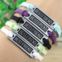 Silvery white leather cord bracelet, unique BESTFRIEND bracelet, light blue leather cord bracelet, wax rope, girlfriend and BFF