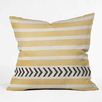 Allyson Johnson Yellow Stripes And Arrows Throw Pillow