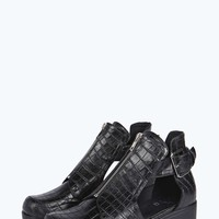 Leah Cut Out Buckle Trim Ankle Boot