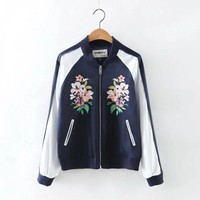 On Sale Hot Deal Sports Autumn Women's Fashion Stylish Embroidery Floral Jacket Slim Baseball [8805278151]