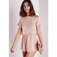 Missguided - Silky Double Layer Romper Dusky Pink