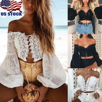 Women's Off Shoulder Long Sleeve Lace Up Crop Tops Hollow Slim T-Shirt Blouse US
