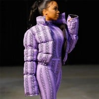 Women Fashion Purple Snake Print Bubble Jacket