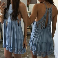Fashion Hollow Lace Stitching Backless Sleeveless Strap Mini Dress
