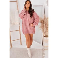 Sweet Farewell Curvy Chenille Sweater (Ash Rose)