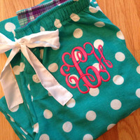 Monogrammed Pajama Pants - Teal and white polka dots - Ladies and Junior Sizes