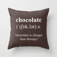 Chocolate Throw Pillow by Cafelab
