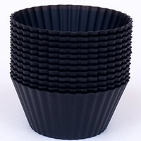 Silicone Cupcake Liners - Set Of 12 Premium Reusable Black Muffin Baking-Cups In Storage Container.