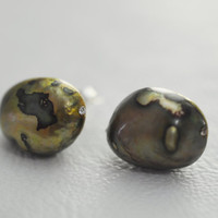 Brown Authentic Freshwater Pearls , Stud Earrings