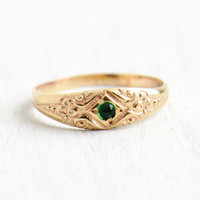 Antique Art Deco 10k Yellow Gold Emerald Green Stone Baby Ring - Size 1/2 One Half Midi 1920s Repousse Jewelry