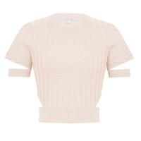 Crop Cut Out Knit Tee - Pink