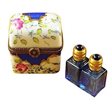 Blue Flowers With 2 Blue Bottles Limoges Boxes