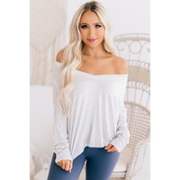 Give Me More V-Neck Long Sleeve Top (Heather Grey)