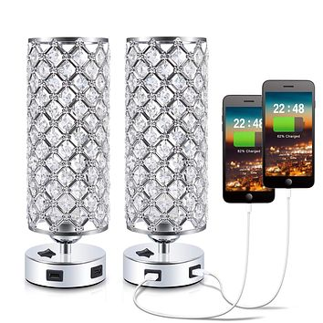 USB Crystal Bedside Lamp, Kakanuo Nightstand Decorative Lamp with Dual Fast USB Charging Ports, Modern Glam Table Lamp Set for Bedroom, Living Room, Study Room, Office (Set of 2) dual usb