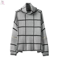 Women Sweater Knitted Plaid High Cowl Turtle Neck Oversized Loose Casual Long Split Sleeve Jumper Pullover Streetwear 2016 Fall