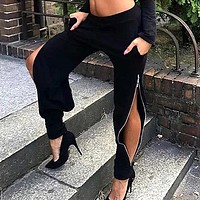 2020 New Women's Personality High Waist Side Zip Black Loose Bottom Casual Pants