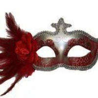 Red and Silver Venetian Masquerade Mask with Red Plumes and Flower on the Side