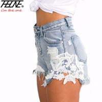 THHONE 2017 Summer Brand Denim Shorts Women Sexy Clothing High Waist Tassel Casual Fashion Ripped Jeans Lace Shorts for Women