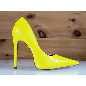 """Red Cherry Milly Yellow Patent Pointy Toe Pump Shoe 4.5"""" Stiletto High Heels"""