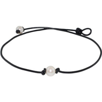 FREE SHIPPING on Pearl Leather Necklaces. Single Freshwater Pearl Necklace on Leather Cord