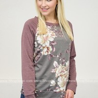 New England Floral Top | Burgundy
