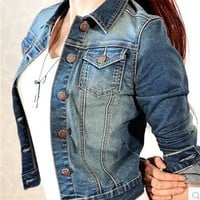 Trendy Women Denim Jacket Slim Light Long Sleeve Streetwear Jeans Jacket Short Style Coats Autumn Spring  ladies jackets and coats AT_94_13