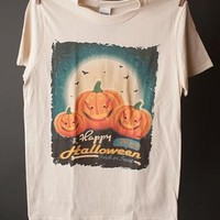 "Gina ""Happy Halloween Pumpkins"" Natural Crew Neck Tee"