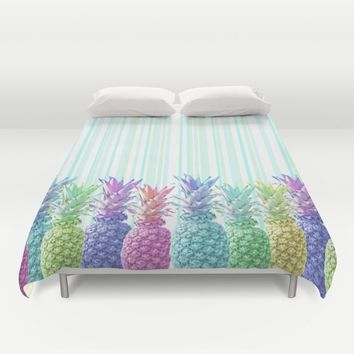 Pastel Jungle and Stripes Duvet Cover by Lisa Argyropoulos