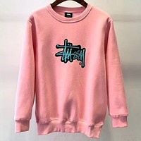 Stussy street fashion men and women embroidered letters plus velvet round neck sweater Pink