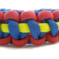 Red and Blue with a Thin Yellow Stripe Paracord Survival Bracelet