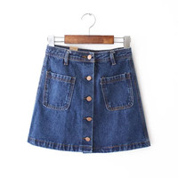 Women's Fashion Summer High Rise Denim With Pocket Skirt [4920256772]