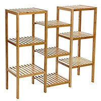 Songmics Bamboo Customizable Utility Shelf Bathroom Rack Plant Display Stand 9-Tier Storage Rack Shelving Unit UBCB93Y