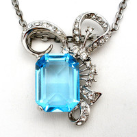 Blue & Clear Rhinestone Pendant Necklace Smithsonian Institute