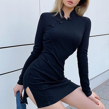 2020 new sexy women's fashion split hip bag dress