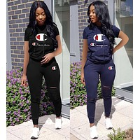 Champion Hot Sale Fashion Women Print Short Sleeve Top Pants Set Two-Piece