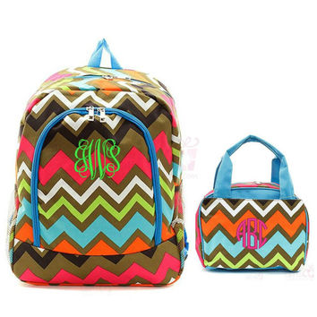 """Personalized Chevron Backpack Matching Lunch Box Bag Set Aqua Brown Pink 17"""" School Tote Insulated Lunchbox Embroidered Monogram Lunchbag"""