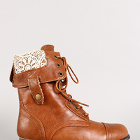 Crochet Fold-Over Military Lace Up Boot