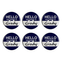 Grady Hello My Name Is Plastic Resin Button Set of 6