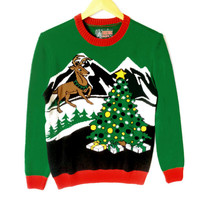 Reindeer and Christmas Tree Tacky Ugly Sweater