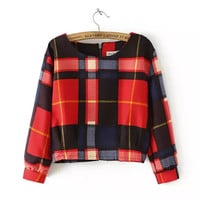 Plaid Long-Sleeve Zipper Back Blouse