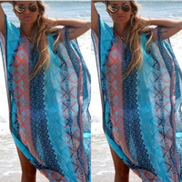 Swimsuit Hot Sexy New Arrival Summer Print V-neck Chiffon Beach Blouse Vacation Dress Bikini [4970284036]