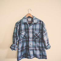 50s Vintage Wool Flannel Plaid Blue Teal  Men's Hipster Distressed  Thick Cozy Northwest Seattle Portland Style Preppy Men's  Small/ Medium