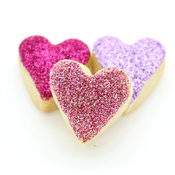 Handmade Scottish Vanilla Mini Love Heart Pink & Purple Glitter Shortbread Cookie Wedding Favor Favour Gluten Free Mothers Day Birthday Gift