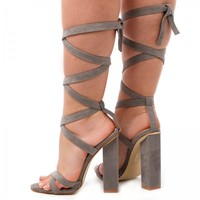 Polly Lace Up Block squared Heels in Grey Faux Suede