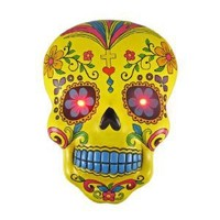 Yellow DAY OF THE DEAD Skull Wall Hanging LED Eyes