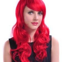 Taobaopit Hot Charm Lolita Animation Cosplay Red Long Wavy Full Wig with Heat Friendly Synthetic Fiber