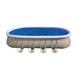 By PoolCentral 22' Blue Oval Floating Solar Cover for Steel Frame Swimming Pool