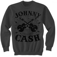 Johnny Cash Men's  Rockabilly Guitars Sweatshirt Charcoal
